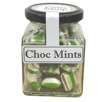 Choc Mints - Boiled Lollies Rock Candy 130g Jars - Packed In Boxes of 12